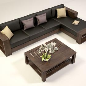 Sofa gỗ góc đệm da T132