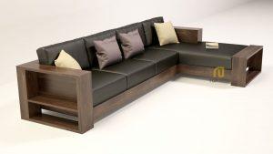 Sofa gỗ góc đệm da T132 ,1