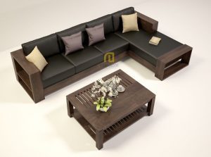 Sofa gỗ góc đệm da T132 ,2