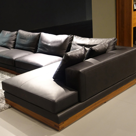 Sofa gỗ góc da Nhật T067
