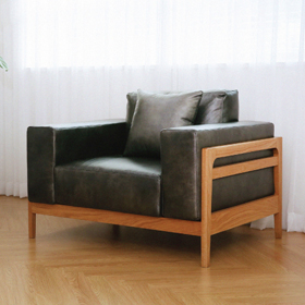 Sofa gỗ đơn T055 da Hàn Quốc