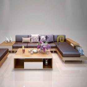 Sofa gỗ góc T131 da Hàn Quốc