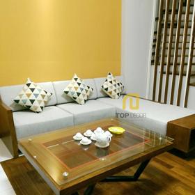 Sofa góc gỗ đệm nỉ Hàn Quốc T127
