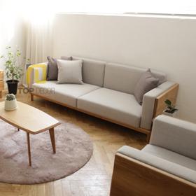 Sofa văng gỗ Sồi T059 nỉ Hàn Quốc