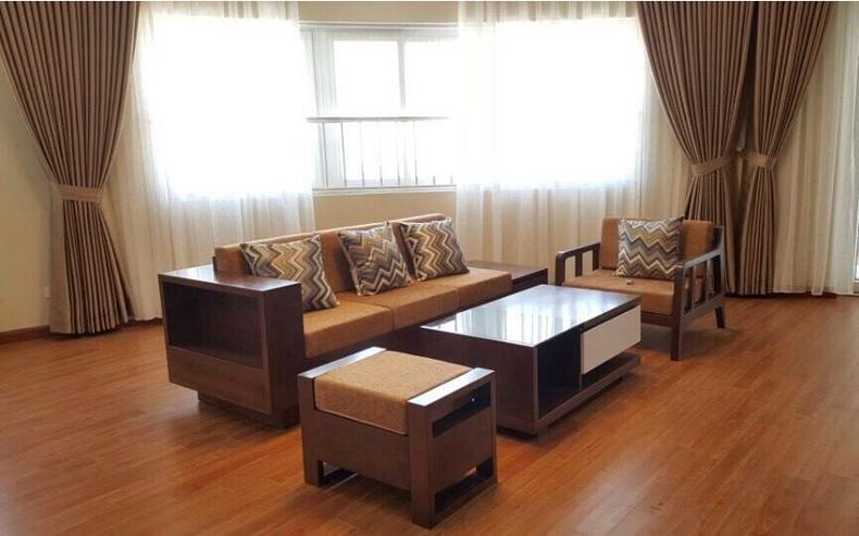 Sofa văng gỗ đệm nỉ T124 ,1