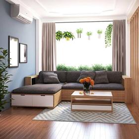Sofa gỗ góc nỉ Hàn Quốc T122