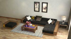 Sofa gỗ đệm da Hàn Quốc T146 ,3