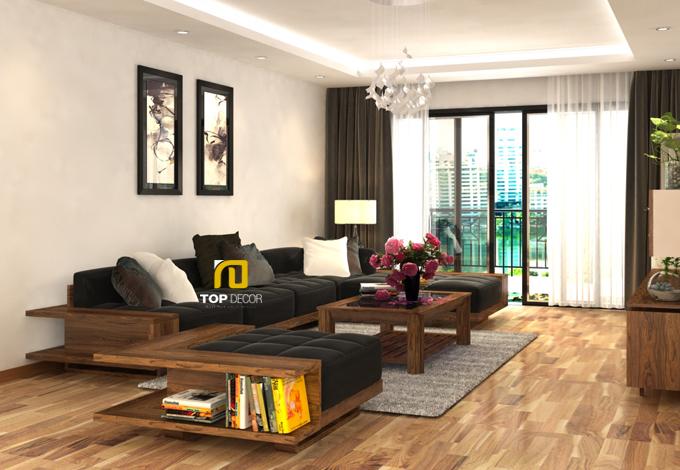Sofa gỗ đệm da Hàn Quốc T146 ,2