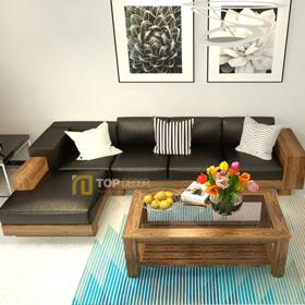 Sofa gỗ góc đệm cao cấp T145