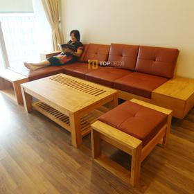 Sofa gỗ tay hộp T147