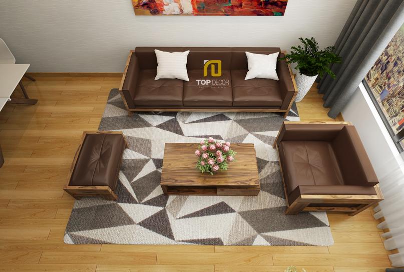 Sofa gỗ Sồi da Anh T156 ,4