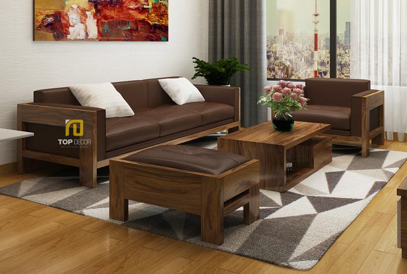 Sofa gỗ Sồi da Anh T156 ,1
