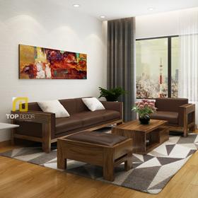 Sofa gỗ Sồi da Anh T156