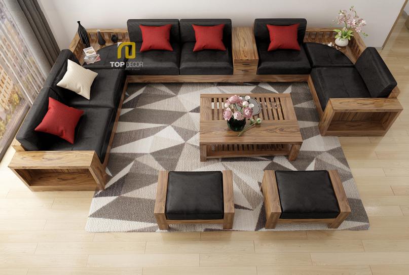 Sofa gỗ chữ U T158 ,5