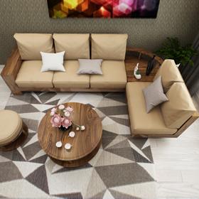 Sofa gỗ góc đệm T166